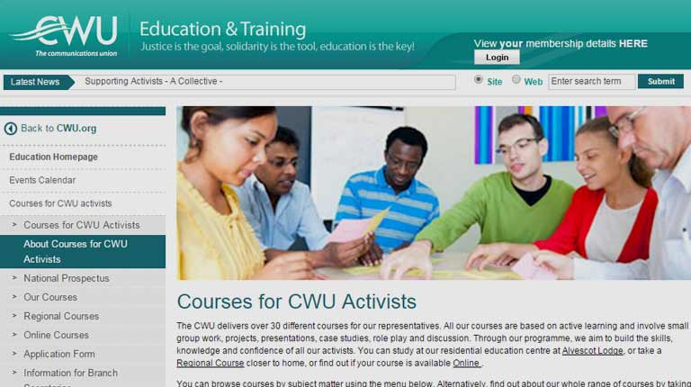 Picture of CWU Education and Training website